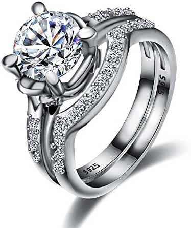 UBEI Sterling Silver Cubic Zirconia Women Engagement Wedding Promise Ring Bridal Set
