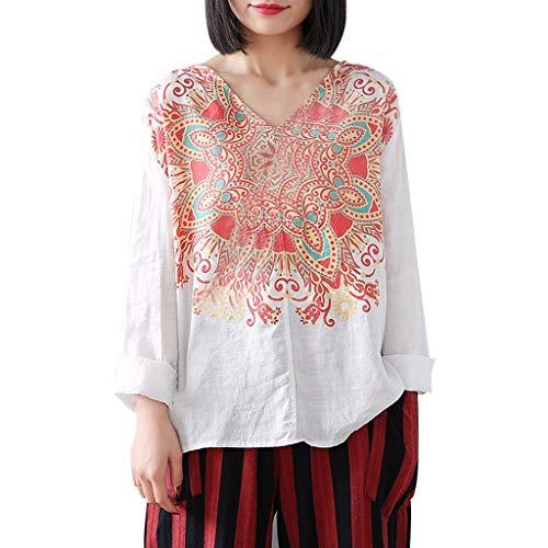 Witspace Women Fashion Casual V-Neck Polka Dot Shirt Bubble Long Sleeve