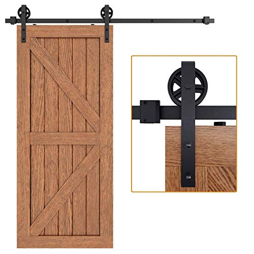 EaseLife 6.6 FT Sliding Barn Door Hardware Track Kit,Big Spoke Wheel,Fit 36″~40″ Wide Door