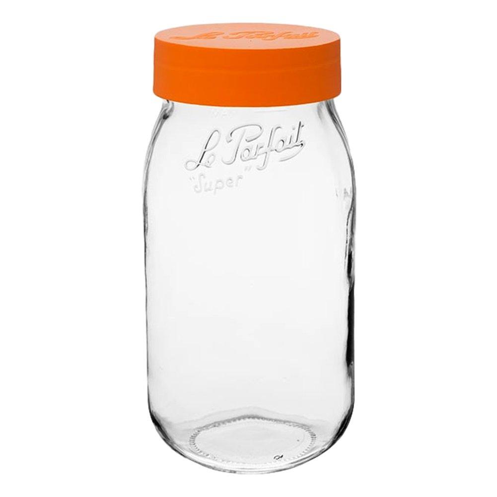 6 Le Parfait Screw Top Jars - Wide Mouth French Glass Preserving Jars - Preserve, Store, Serve, Décor (6, 2000ml - 64oz - Orange Lid)