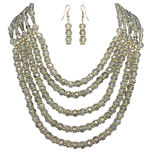 (5 Row Layered Beveled Glass Beaded Boutique Style Necklace And Dangle Earrings Set (Light Grey))