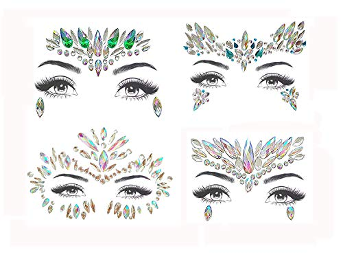 ZLXIN Face Gems Temporary Tattoo Stickers Face Jewels Rainbow Tears Rhinestone Eye Decoration Crystal Glitter Stickers for Party Music Festivals Rave Carnival Halloween (4 Pcs A Set)