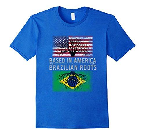 [Men's Funny Brazilian Roots T-shirt Brazil America American Quote XL Royal Blue] (Brazil Costume Male)
