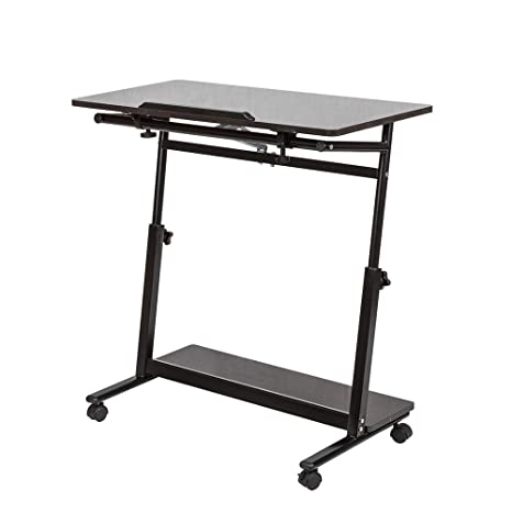 Huisen Furniture - Mesa de Escritorio Ajustable para Ordenador portátil, con Ruedas a la Altura