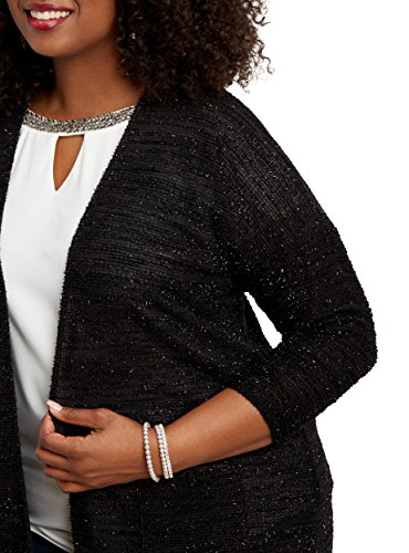 Maurices Women's Plus Size Textured Cardigan With Metallic Shimmer 3 Black