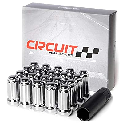 Circuit Performance 14x2.0 Chrome Closed End 6 Spline Security Acorn Lug Nuts Cone Seat Forged Steel (20 Pieces + Tool): Automotive