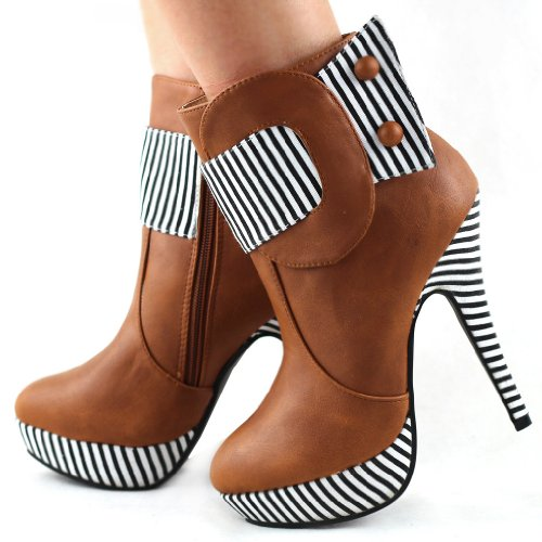 Ankle High Heel Striped STORY FZ97304 SHOW Zipper Platform Boots Button Stiletto Tan Xq8AIxg