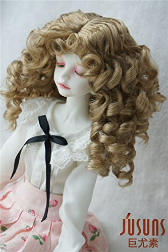 Brown Mohair Light (Doll Wigs JD031 Moon Girl Wave Curls Doll Wigs 1/8 1/6 1/4 1/3 Synthetic Mohair BJD Hair (Light Brown, 7-8inch))