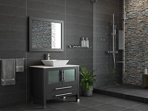 36 Inch Espresso Solid Wood & Porcelain Single Vessel Sink Vanity Set- Canton (Brushed Nickel Faucet)
