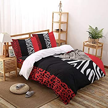 Image of Home and Kitchen All Like Red 4 Piece Bedding Set Duvet Cover Set- King Size Ultra Soft Microfiber Quilt Cover with Zipper Closure (1 Comforter Cover + 1 Flat Sheet + 2 Pillowcases)- Leopard and Zebra Animal Print