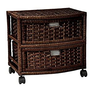 Storage Unit On Wheels Handmade With Drawers - Mobile Rolling Organizer Cart Natural Fibers - Best For Office, Bedroom, Laundry Room Bundle w Anti-slip Accessory Pad (Brown)