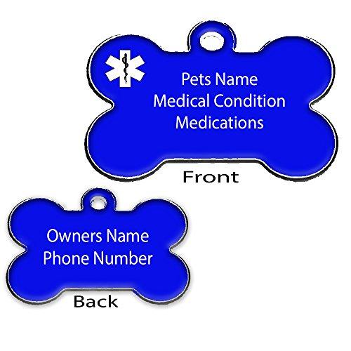 Medical Pet ID Tags - Medical ID - Dog Bone Shape - Dog ID Collar Tag Black, Blue, Red - FREE ENGRAVING (Blue)