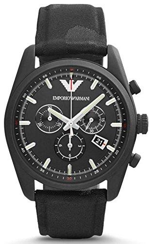 Emporio Armani Sport Chronograph Black Dial Black Canvas Mens Watch AR6051