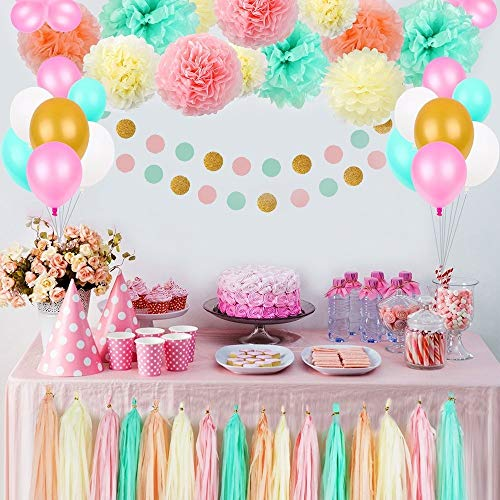Party Birthday Decorations Pom Poms Flowers Kit Paper Garland And Tassels For 1st Girl Kids Bridal Shower Baby