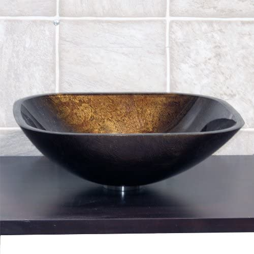 Bathroom Artistic Square Glass Vessel Vanity Sink Free Pop Up Drain S9052