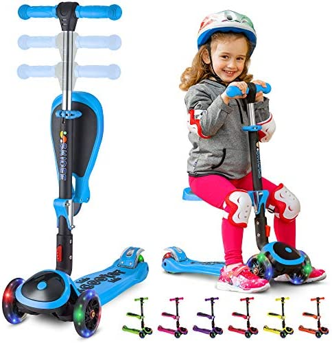 S SKIDEE Scooter for Kids with Foldable and Removable Seat Adjustable Height, 3 LED Light Wheels, USA Brand 3 Wheels Kick Scooter for Girls Boys 2-12 Years Old – Y200