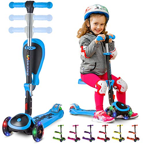 S SKIDEE Scooter for Kids with Foldable and Removable Seat - Adjustable Height, 3 LED Light Wheels, USA Brand 3 Wheels Kick Scooter for Girls & Boys 2-12 Years Old - Y200