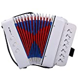 CAHAYA Accordion 7 Keys 2 Bass Button Educational Musical Instrument Rhythm Band for Children (White)