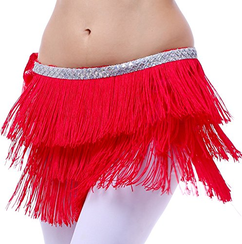 (Festival Clothing Dancing Hip Scarf for Women with Fringes Red S M)