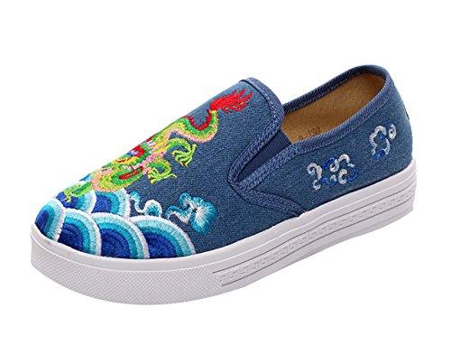SK Studio Damen Plateau Sneakers Blumen Freizeit Schuhe Low Top Turnschuhe Espadrilles Blau