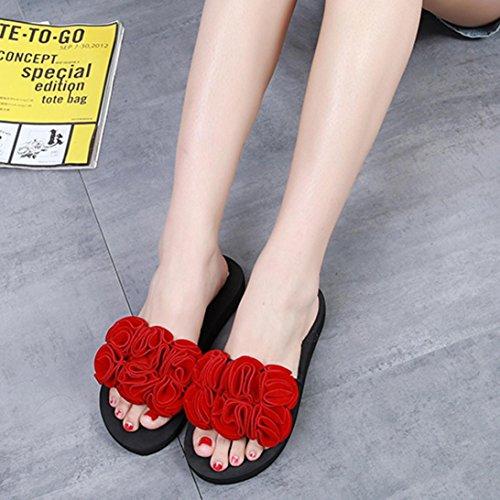 Sandalen Schuhe Neu 2018 mit Sommer Damen Blumen PLOT Draussen Flach Strandschuhe Badeschuhe Rot Damen Sandals Slipper Schuhe Swq51xUp