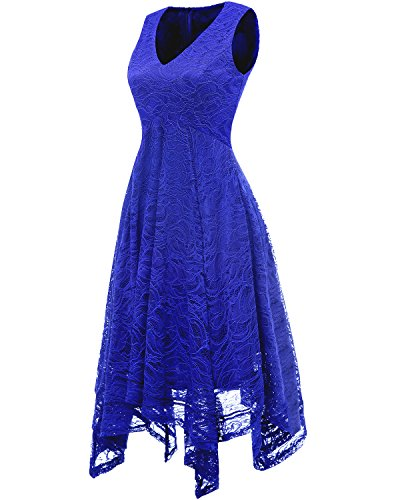 Blue Damen unregelmäßig Elegant bridesmay Cocktail Brautjungfernkleider Spitzenkleid Royal pw0Ozqg