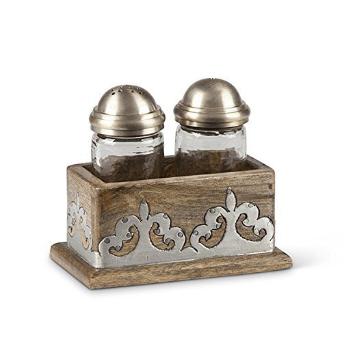 GG Collection, Mango Wood with Metal Inlay Salt and Pepper Shaker Set by GG Collection