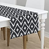 Table Runner - Trend Black and White Southwest Native American Chevron Cross by Fable Design - Cotton Sateen Table Runner 16 x 108