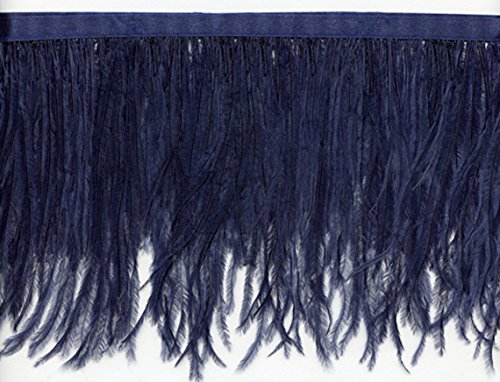 Navy Feather - Ostrich Feather Fringe Trim | Available in 25 Colors | Priced per Yard (Navy)