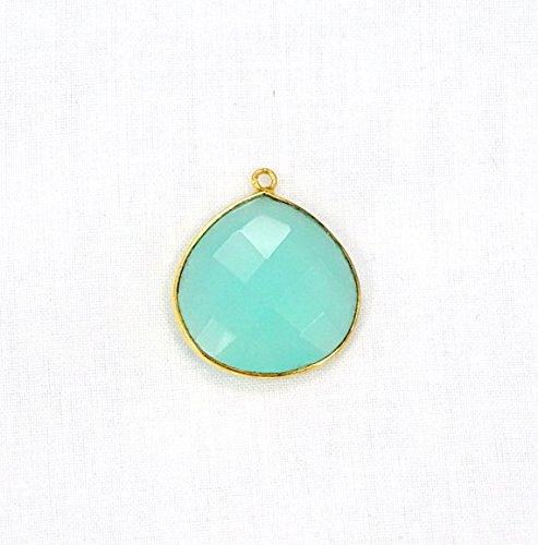 Devgemsandjewels Aqua Chalcedony Heart Shape 20 mm 24k Gold Plated Single Bail Gemstone Faceted Bezel Pendant 1pc.