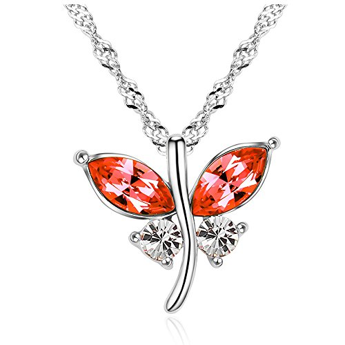 The Starry Night Red Austrian Crystal Flower Butterfly Dances Pendant Silver Fashion Women Necklace