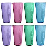 Hampton Premium Quality Plastic 28oz Iced Tea Tumbler | set of 8 in 4 Assorted Colors