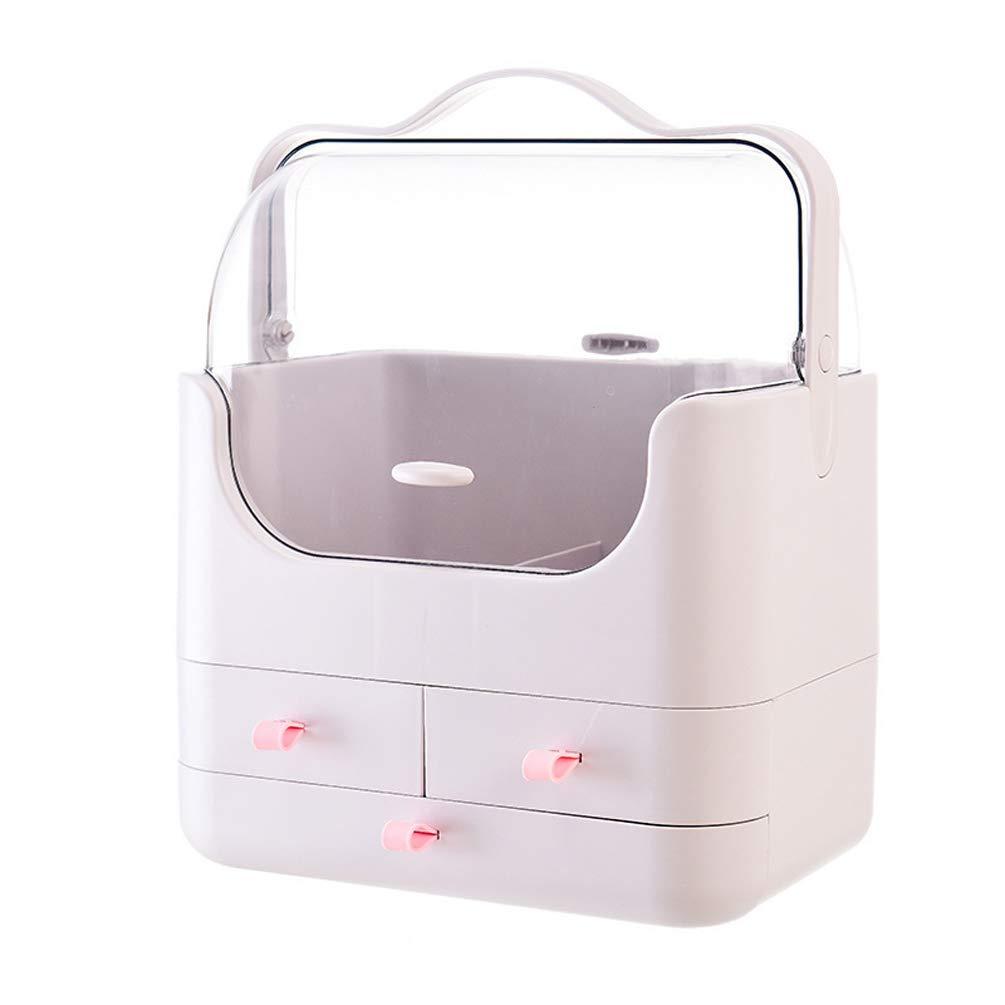 LQBZ Cosmetic Storage Box Makeup Organizer Multi-Layer Draweruff0cCosmetic Storage Box Desktop Dustproof Skin Care Finishing Box Dressing Table Storage Box-Pink