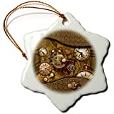 3dRose Heike Köhnen Design Steampunk - Awesome noble steampunk design, clocks and gears - 3 inch Snowflake Porcelain Ornament (orn_287327_1)