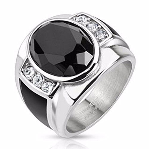 (Diamond Cut Onyx Stone with Black Enamel Sides Cast Stainless Steel Ring)