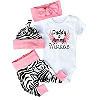 Baby Girls Dad Mom Miracle Saying Bodysuits with Leggings Headbands Caps 4pcs...