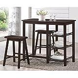 ACME Furniture 73050 3 Piece Nyssa Counter Height Set, Walnut
