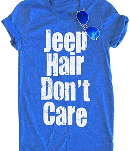Women Jeep Hair Dont Care Lettters Print Funny T Shirt Casual Short Sleeve O Neck Tops Blouse Size L  Blue