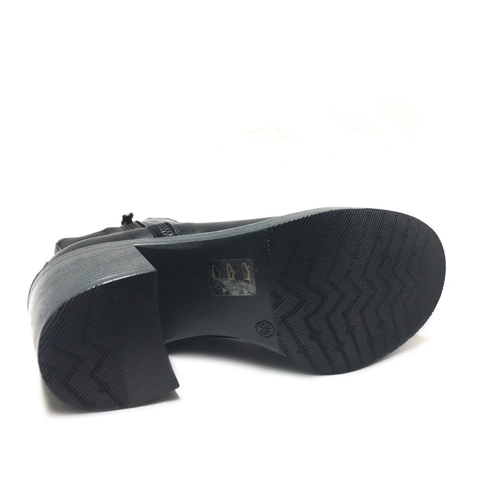 Shoegar Zip Tronchetti Neri Donna con Doppia Zip Shoegar e Tacco Largo Vera Pelle Made in Italy Nero 294470