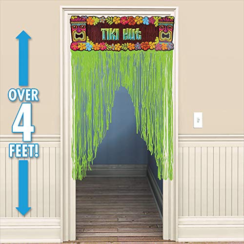 Sun-Sational Summer Luau Party Tropical Tiki Door Curtain Decoration, Plastic, 4 Feet x 3 Feet