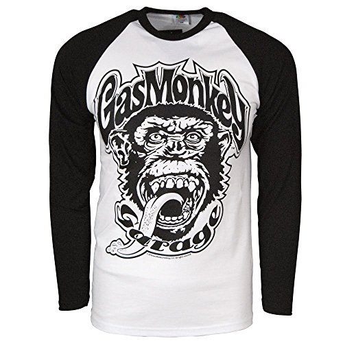 About Baseball T-shirt - Mens Official Gas Monkey Garage 04 Baseball Long Sleeve T Shirt Black Large – Chest 40-42 Inches White & Black White & Black