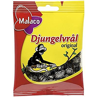Malaco Djungelvral - Supersalty Liquorice 80g - Pack of 6 : Grocery & Gourmet Food