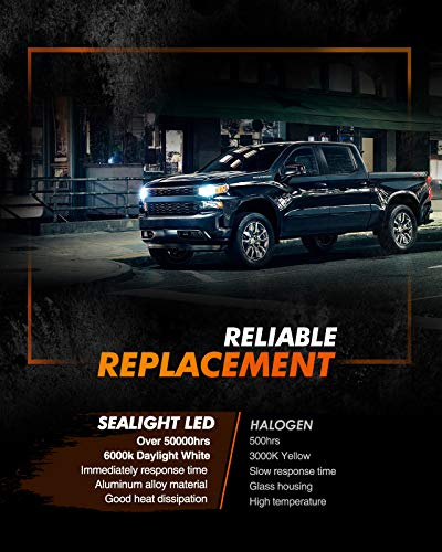 SEALIGHT H11 H8 H9 LED Headlight Bulbs, 60W 6000K Xenon White, Easy Installation, Low Beam H16 LED Fog Lights, Halogen Replacement CSP Chips, Pack of 2
