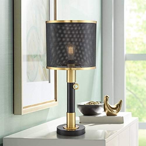 Helios Industrial Table Lamp LED Brass and Black Perforated Metal Shade for Living Room Family Bedroom Bedside Office - Possini Euro Design ()