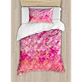 Light Pink Twin Size Duvet Cover Set by Ambesonne, Cherry Blossom Tree Flowers in Vibrant Tones Spring Beauty Illustration, Decorative 2 Piece Bedding Set with 1 Pillow Sham, Pink Light Pink