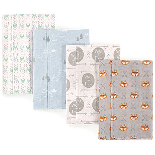 Luvable Friends Baby Layered Flannel Burp Cloth, Wild/Free 4Pk, One Size