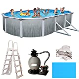 Madagascar Complete 18' x 33' x 52' Oval Metal Wall Above Ground Swimming Pool Package