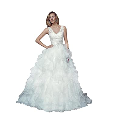 Ball Gown V Neck Wedding Gowns Cascading Ruffles Bride Dresses Size ...
