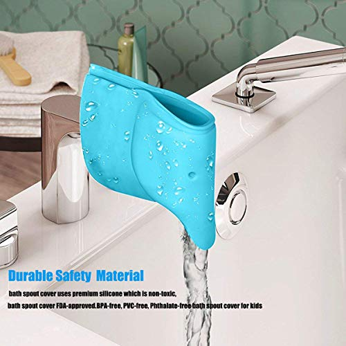 Bath Spout Cover- Bathtub Faucet Cover for Kid Bath Tub Faucet Extender Protector for Baby - Silicone Soft Spout Cover Baby Blue Elephant Child Bathroom Cute Accessories for Bathroom Safety(2pack) by Bath Spout Cover (Image #4)
