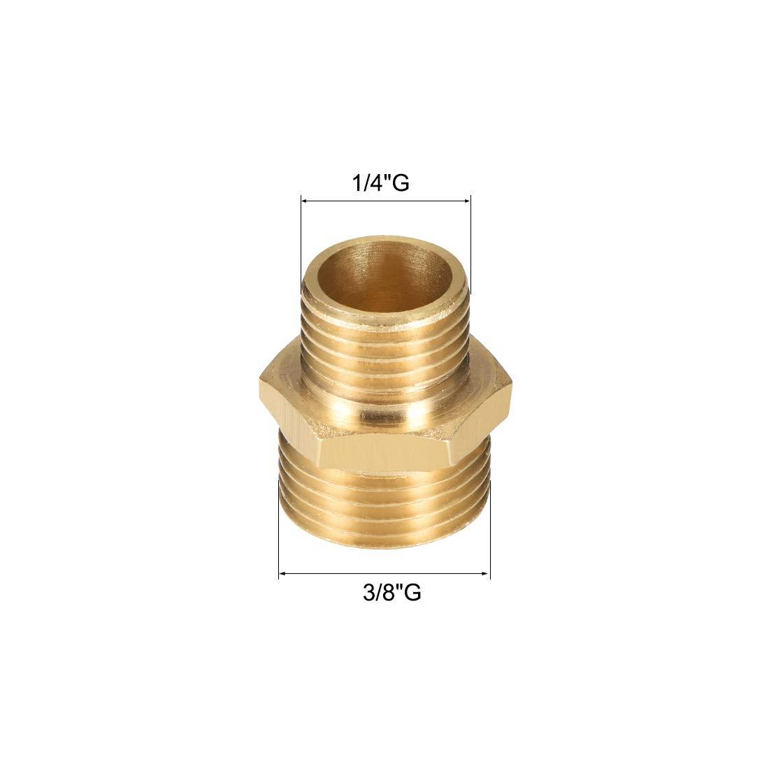 1//2 x 3//4 G m/âle en laiton dor/é uxcell Lot de 4 raccords de tuyau en laiton /à filetage r/éduit Hex
